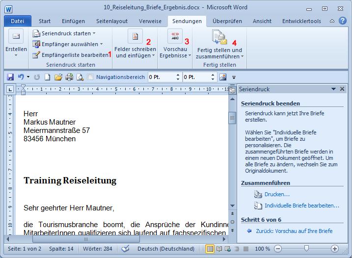 Briefe Und Sendungen Word 2010 : Computertraining you eu word